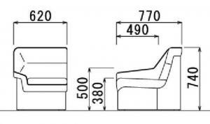 【コーナーに華を】応接用 コーナータイプ ビニールレザー張り 片肘つき