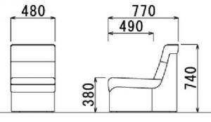【コーナーに華を】応接用 コーナータイプ ビニールレザー張り 肘なしチェア