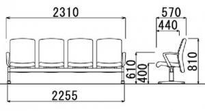 【定番】ロビーチェア 4人用 肘つき|LC-600