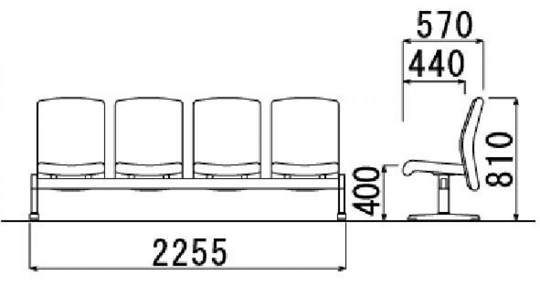 【定番】ロビーチェア 4人用 肘なし|LC-600_3