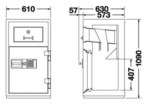 エーコー 投入式耐火金庫(防盗性能) 履歴テンキー式 PSG-100ER 330kg  投入式耐火金庫