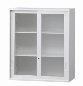 【事務用品】上置き用 ガラス引き違い書庫 高さ1050mm