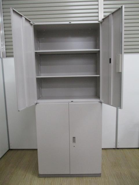両開き書庫+両開き書庫の組み合わせ|大容量収納                         シンライン                                     中古