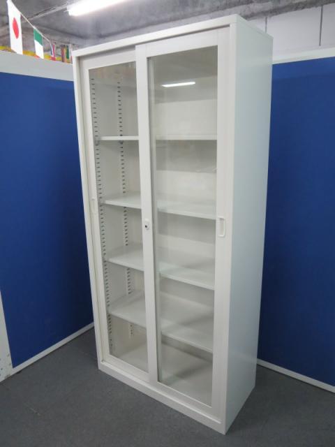 ■ガラス引戸書庫 ホワイト色 ■【中が見えて書類を探しやすい!】A4サイズ5段収納対応