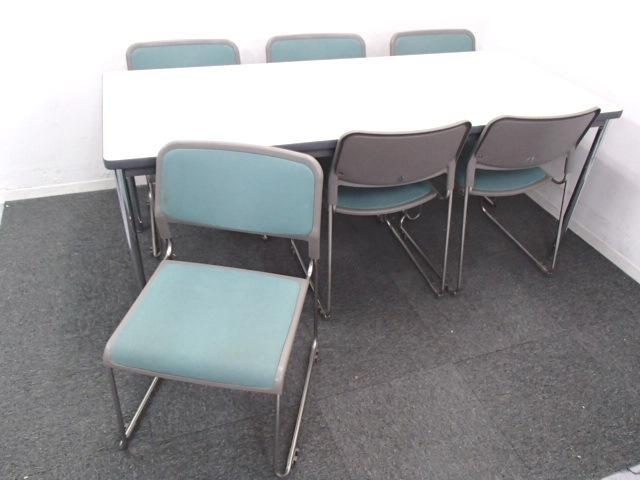 【セット商品】|ミーティングテーブル+スタッキングチェア6脚|休憩室や会議室用に最適                                                              中古