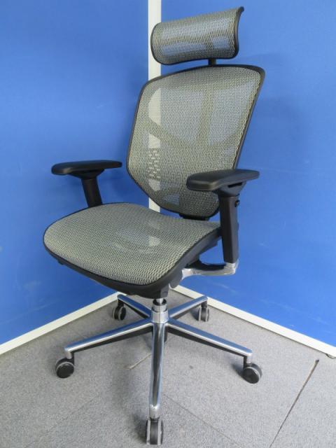 【デスクワークが捗ります!】■エンジョイチェア ヘッドレスト付 ■グレー 可動肘付【Comfort Seating】