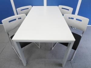 【4名様の打合せ・会議・商談に最適!】■ミーティングテーブル+スタッキングチェア4脚セット