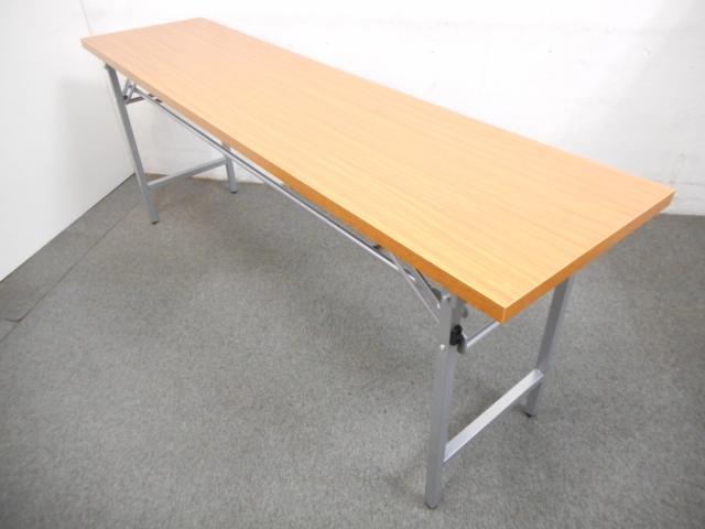 ■折りたたみテーブル【チーク・木目柄】■一番人気のW1800×D450サイズ!■会議用・作業用・イベント用などに使えます!