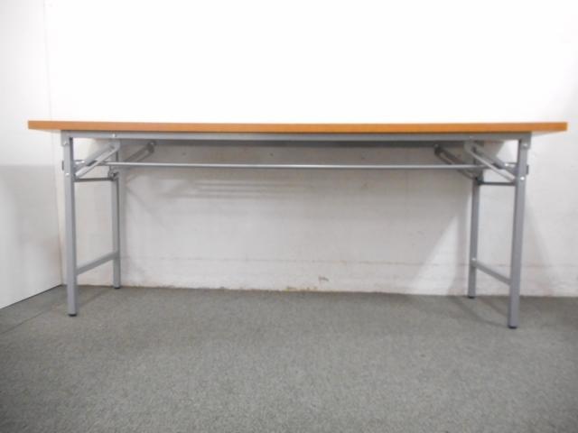 ■折りたたみテーブル【チーク・木目柄】■一番人気のW1800×D450サイズ!■会議用・作業用・イベント用などに使えます!                         脚折れテーブル                                     新品