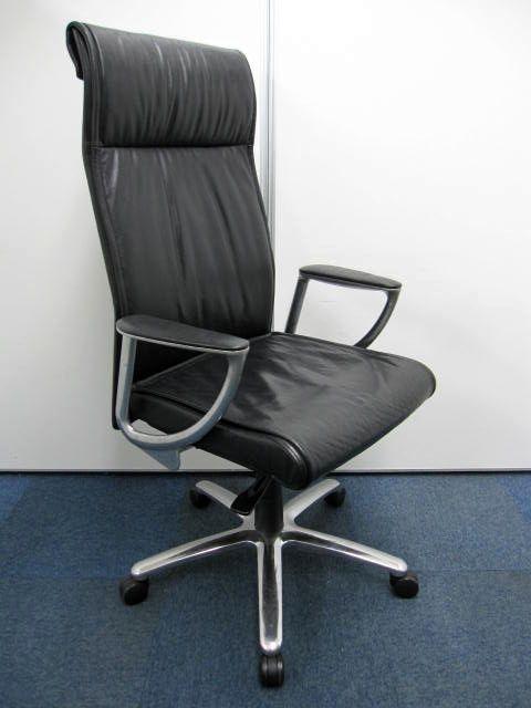 【高級革張り】エグゼクティブチェア オカムラ CE66RX ハイバック 本革:ブラック 【在庫6脚】