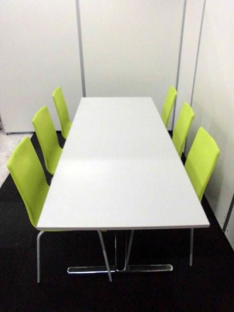 【明るい配色】ミーティングテーブル&チェアセット【6名用セット】                                                              中古