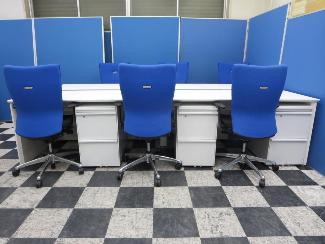 【6名様分省スペースに】これだけでとりあえず事務作業できますセット!■フリーアドレスデスクで快適!■さいたま店おすすめ!【中古オフィス家具】|プロユニットフリーウェイ+ワゴン+高機能チェア(中古)