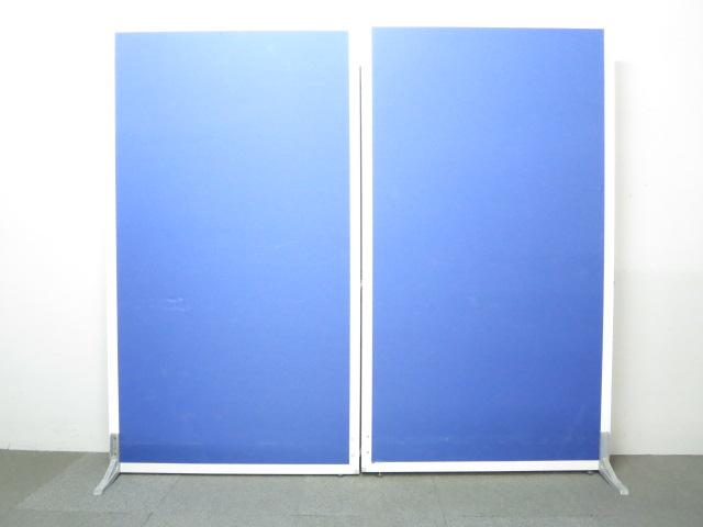 ■ローパーティション2枚セット■W2000(W1000×2枚)×H1800【両サイド安定脚付】■ブルー【クロス張り】