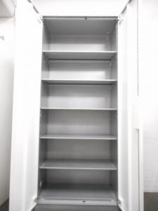 【※訳あり商品】■コクヨ製 両開き書庫 ホワイト【※鍵が掛かりません】 [UFX](中古)