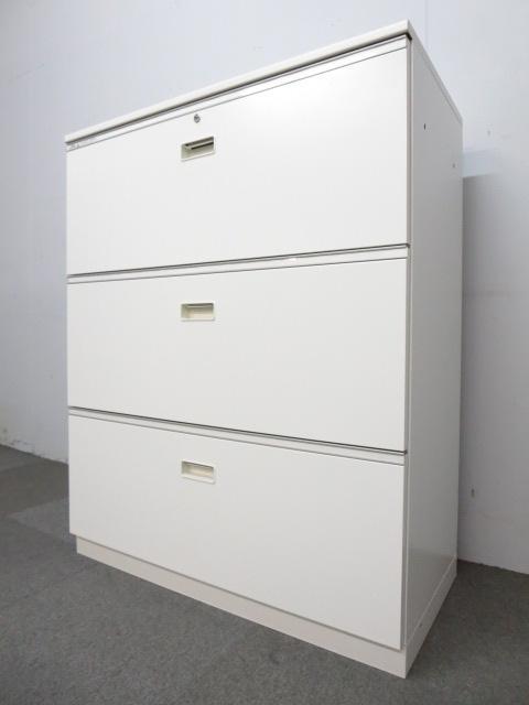 【ファイル収納におすすめ!】■イトーキ製 3段ラテラル書庫 ■ホワイト 天板付