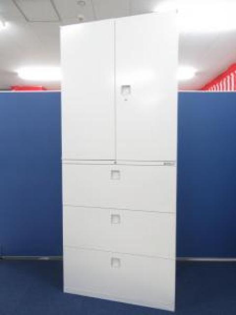 【大量収納にオススメ!】■両開き+3段ラテラル書庫セット ホワイト ■オカムラ レクトラインシリーズ