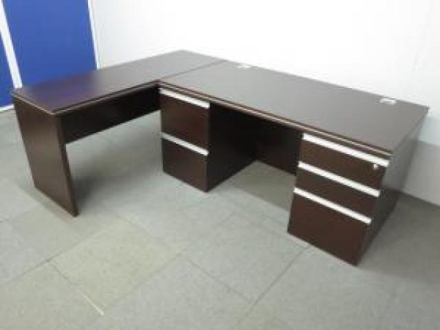 ■役員用木製両袖机+サイドテーブルセット ■【L字型デスクのようにご利用頂けます!】