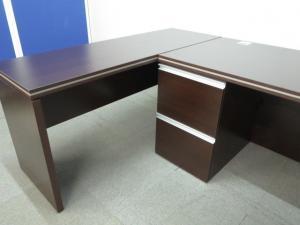 ■役員用木製両袖机+サイドテーブルセット ■【L字型デスクのようにご利用頂けます!】|マネージメントデスク MMDシリーズ