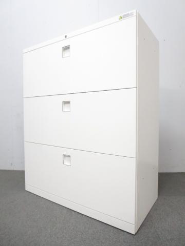 【ハイグレードなデザイン!】■オカムラ製 レクトラインシリーズ 3段ラテラル書庫 ホワイト