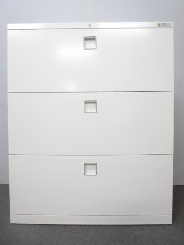 【ハイグレードなデザイン!】■オカムラ製 レクトラインシリーズ 3段ラテラル書庫 ホワイト                         レクトライン                                     中古