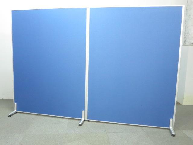 ■ローパーティション2枚セット ■W2400(W1200・2枚連結)×H1600mm【安定脚付き】■ブルー・クロス張り【2連衝立パネル】