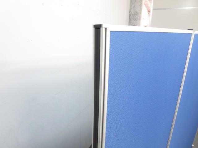 【ワイドに設置するならコレ!】■ローパーティション2枚セット(H1800mmタイプ)■横幅2400mm(1200mm×2枚連結)安定脚付 ■ブルー(布張り)【2連衝立パネル】                         ローパーティション(布貼リタイプ)                                     新品