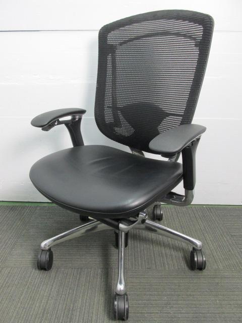 【高級チェア】オカムラ製 コンテッサチェア 座面が革張り 背面がメッシュ 美しいポリッシュフレーム