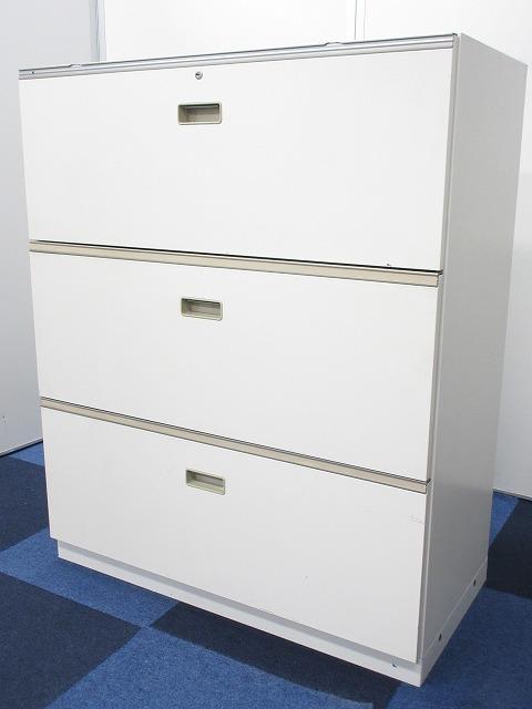 【ファイル収納に便利!】■イトーキ製 3段ラテラル書庫 ■【オフィス収納の定番!】シンラインシリーズ ホワイト色