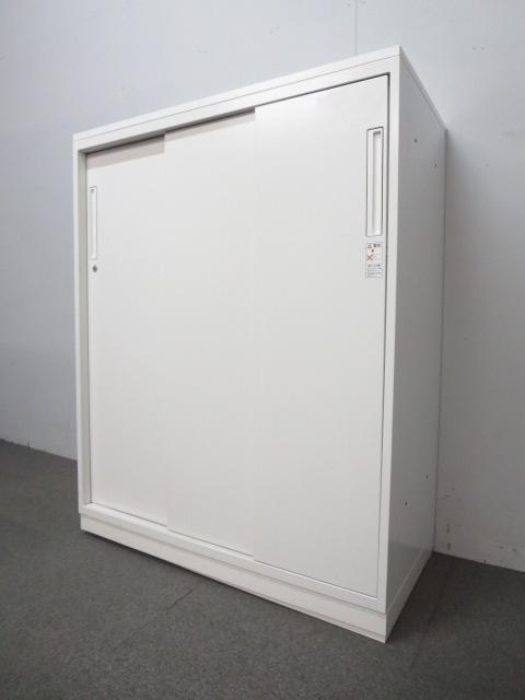【開け閉めしやすいスライド式!】■コクヨ 3枚引戸書庫 ■ホワイト 天板付