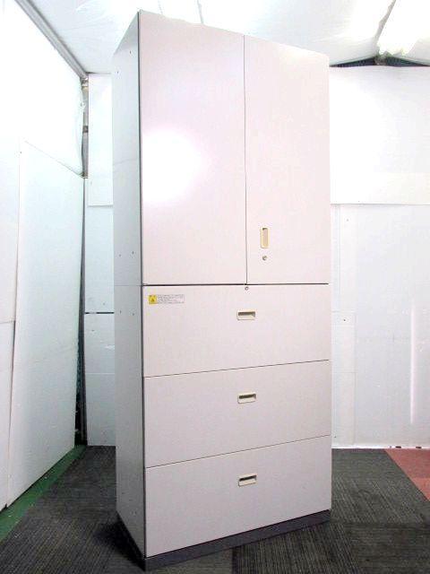 【書庫セット】内田洋行製 両開き扉と、3段ラテラル 収納の定番