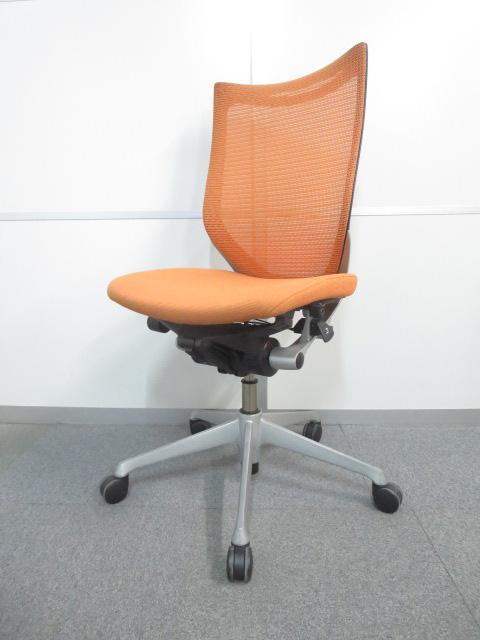 【デスクワークを快適にサポート!】■オカムラ バロンチェア オレンジ■シャープなデザインが人気のメッシュチェア!