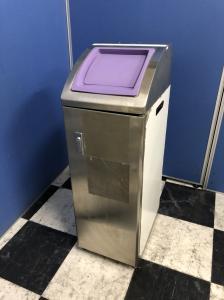 【デスクやチェアだけではないですよ!残り1台!】オフィスに欠かせない必需品 ゴミ箱 ダストボックス 長方形 紫 シルバー ステンレス フタつき 【さいたま市】【中古オフィス家具】【β】【A00370569】