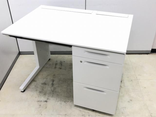 【大量入荷!!】非常に状態のいいホワイト片袖机!!【コクヨ製】iSシリーズ【横幅100cm】オフィスデスク