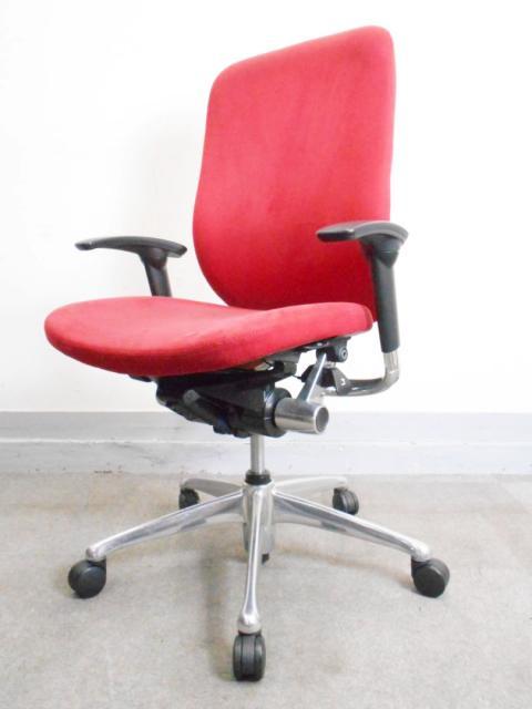[1脚限定特価][鮮烈レッドカラー!]ハイグレード オフィスチェア 稼働肘 オカムラ ゼファーチェア
