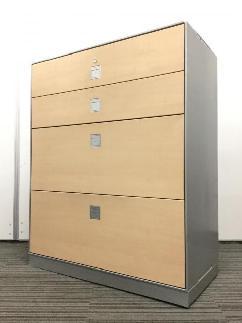 【2台入荷】珍しい4段ラテラル うすい木目調で明るい雰囲気のオフィスにピッタリ