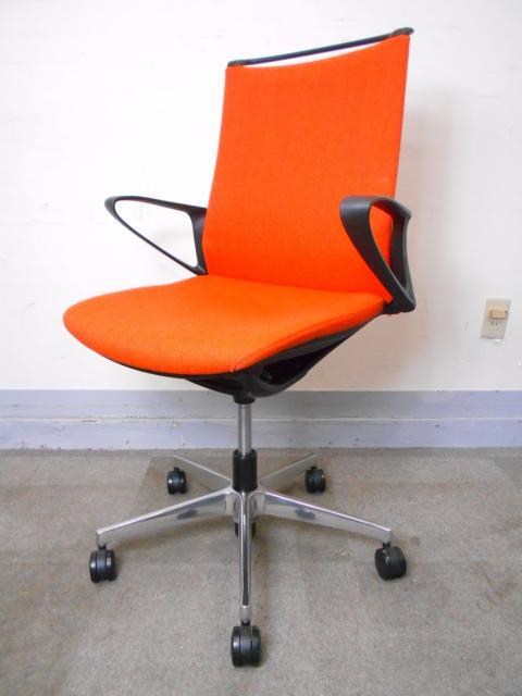 [2015年製造][爽やかな印象のオレンジカラー]オフィスチェア 肘付き 軽快な印象のミニマルデザイン「モードチェア」