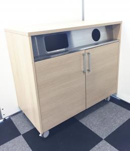 【状態良好】オフィスにおいてもお洒落な清潔感あるダストボックス入荷!キャスター付きで移動も可能!【ゴミ箱】