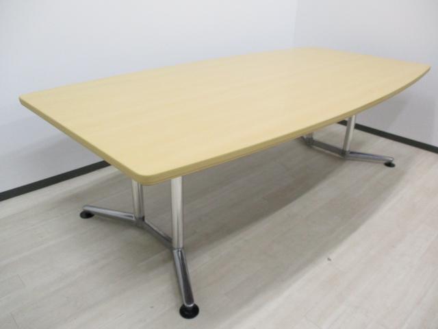 【限定1台‼】(舟形) ■最近メディア出演多数の会議室テーブルです‼お洒落なデザイン、大人気色です!![新品M価格約20万円~]