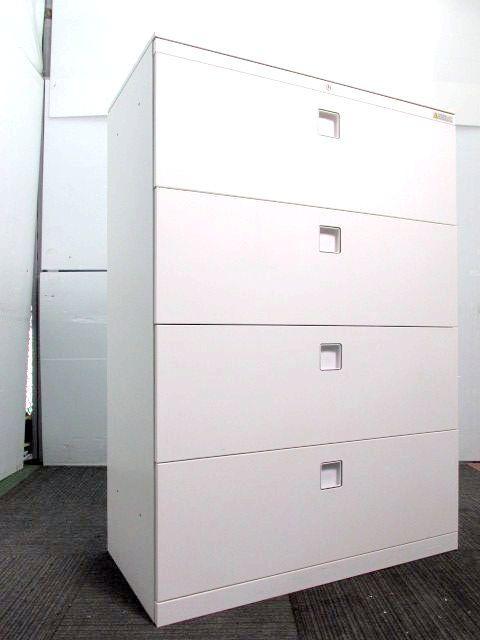 【20台入荷】オカムラ製単体書庫 天板付き4段ラテラル 収納重視 ホワイト色