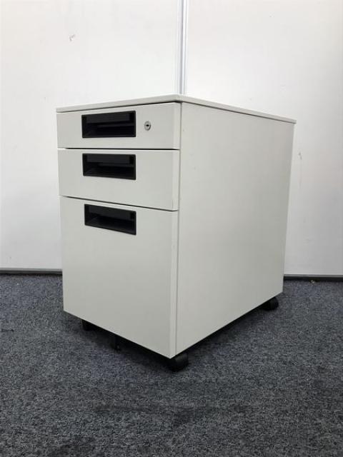 【ホワイト】【デスクインワゴン】デスク下の収納キャビネット(キャスター付)3段タイプ