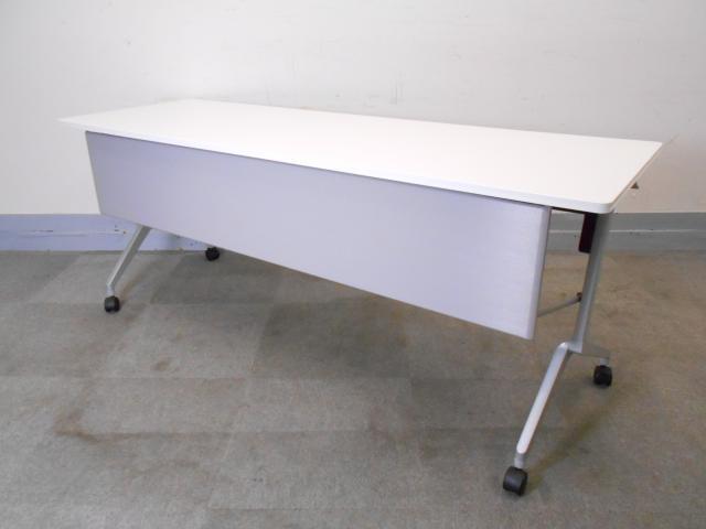 [幕板付き][幅1800㎜]サイドスタッックテーブル フラップテーブル 天板ホワイト キャスター付き