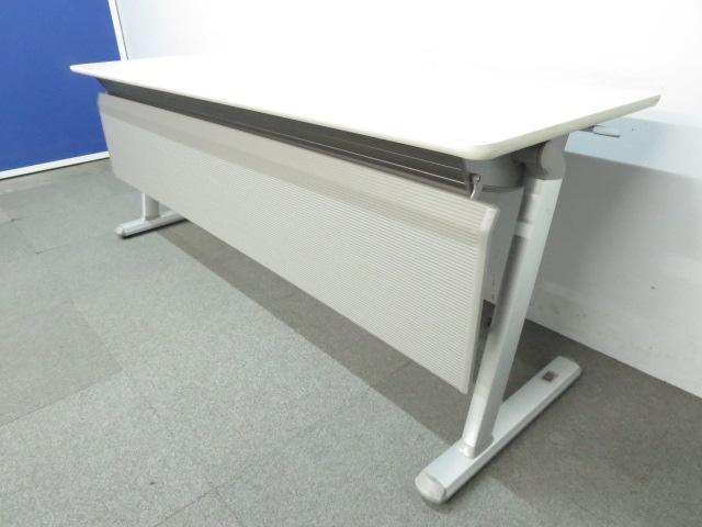 【会議やセミナーに最適!】■コクヨ製 フラップテーブル ■W1800×D600mmタイプ 幕板パネル付