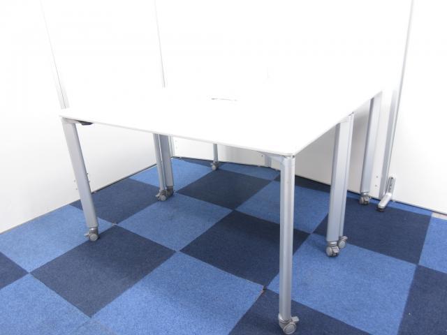 【セット商品!!】オフィスデスク兼ミーティングテーブルとしてもご使用可能!!【便利なキャスター付き】