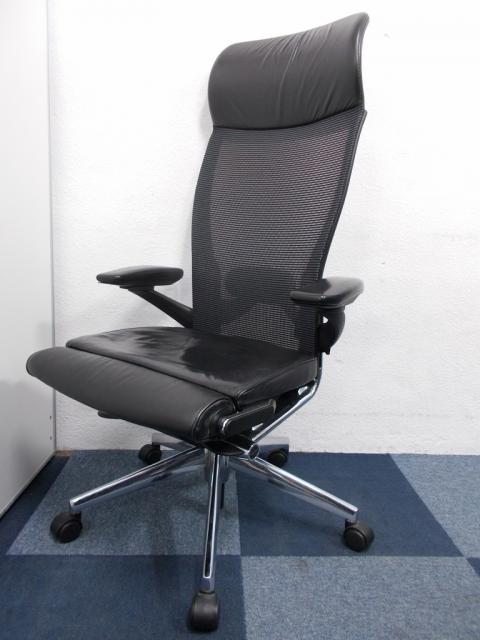 【中古レア商品】HAWORTH(ヘイワース)のX99シリーズチェア/座面革張り/背面メッシュ/ヘッドレスト付き/海外メーカー