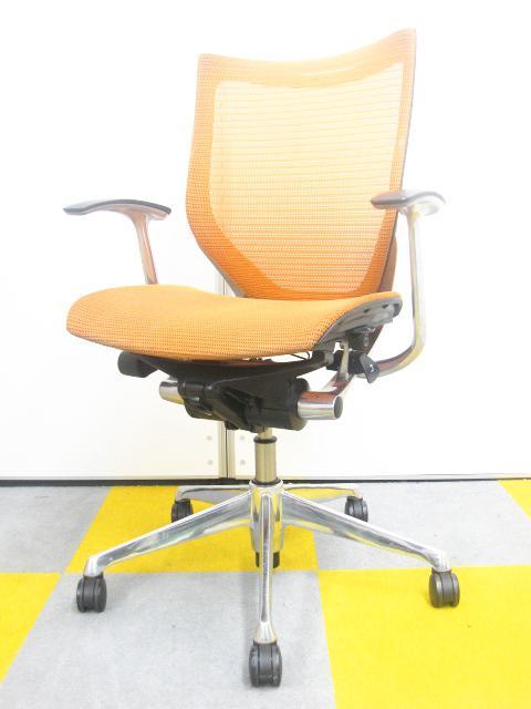 【鮮やかなオレンジでお部屋を明るく!!】高級チェアの定番!!オカムラ製バロンチェア!!座面裏のスポンジが劣化しており、剥がれます。そのためお安くなっております。