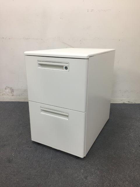 【10台入荷】美品のホワイトワゴン デスクインタイプ ナイキ製 書類をたっぷり収納の2段タイプ