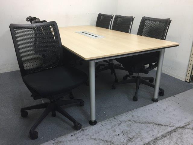 【1セット入荷】|大型テーブル|チェア6脚セット|横幅2100mm|6名での会議用に最適です!