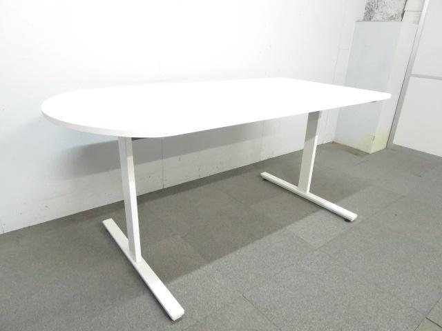 ■ミーティングテーブル 片アール型 ■W1500×D750mm ホワイト T字脚 ■イトーキ DCシリーズ