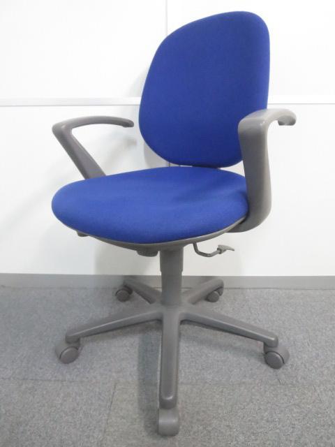 【本格的な座り心地!】■ウチダ ジャストチェア ■ブルー 肘付タイプ