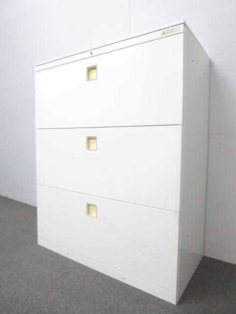 ■オカムラ レクトラインシリーズ ■3段ラテラル書庫 天板付 ホワイトカラー